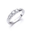 18ct White Gold 0.50ct Trilogy Ring With Diamond Shoulders TGC-DR0738