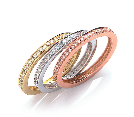 18ct 3 Colour Set Of 3 Diamond Rings  TGC-DR0749