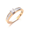 18ct Yellow Gold 0.50ctw Princess Cut Centre Diamond Ring TGC-DR0753