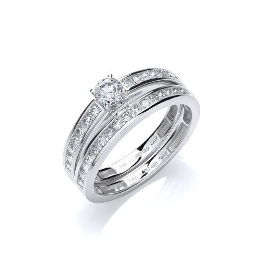 18ct White Gold  0.75ct Bridal Set Rings TGC-DR0824