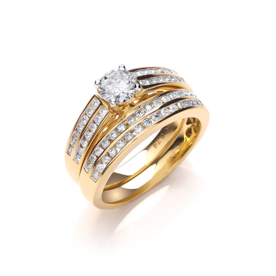 18ct Yellow Gold 1.00ct Fancy Bridal Set TGC-DR0828