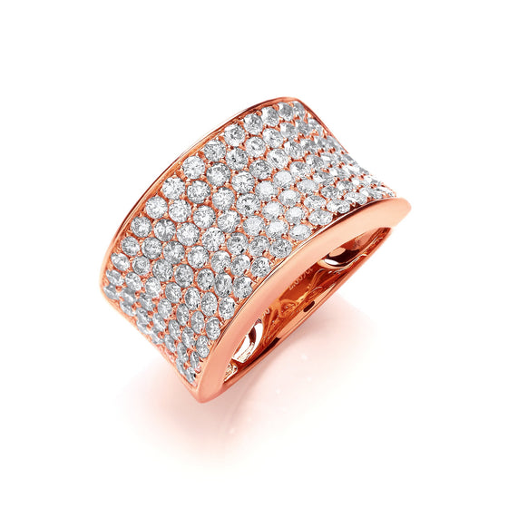 18ct Rose Gold 2.00ct Pave Set Ring TGC-DR0833