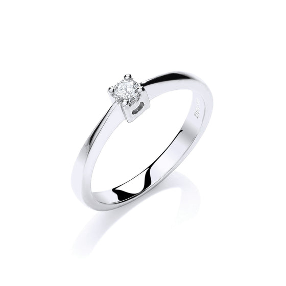 9ct White Gold 0.10ct Solitaire Ring TGC-DR0840