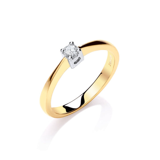 9ct Yellow Gold 0.10ct Solitaire Ring TGC-DR0841