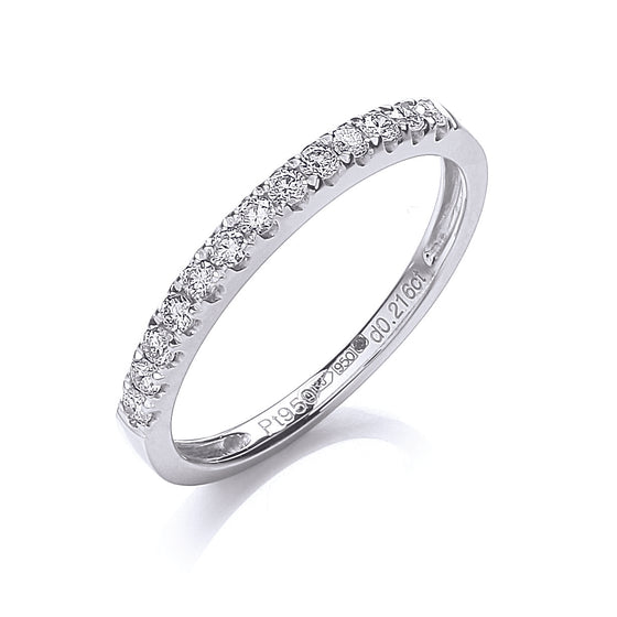 Platinum 0.20ct G/H-Si Half Eternity Diamond Ring TGC-DR0857