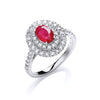 18ct White Gold 0.60ct Diamond, 0.90ct 7x5mm Oval Ruby Ring TGC-DR0864