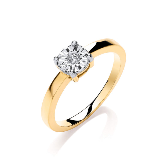 9ct Yellow Gold 0.05ct Diamond Solitaire Ring TGC-DR0870