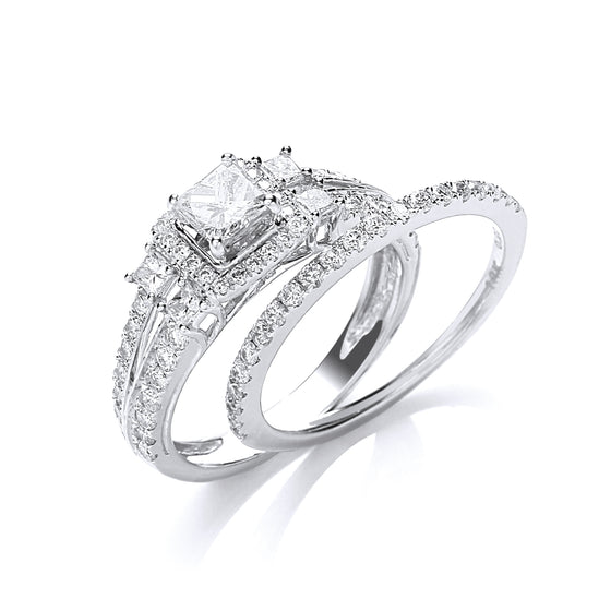 18ct White Gold 1.00ct Diamond Bridal Set Ring TGC-DR0872