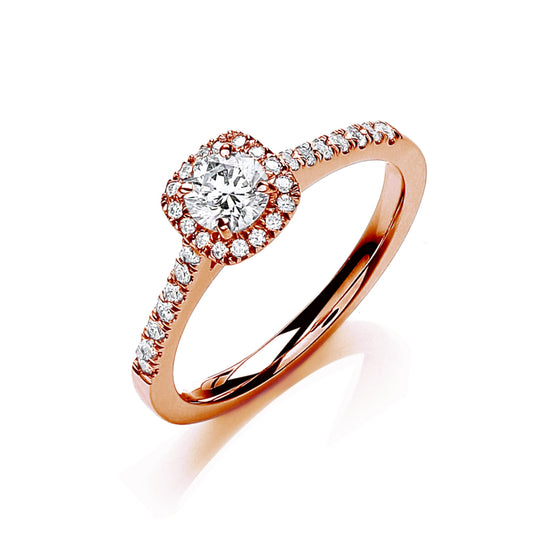 18ct Rose Gold 0.50ctw Certificated Engagement Ring TGC-DR0905