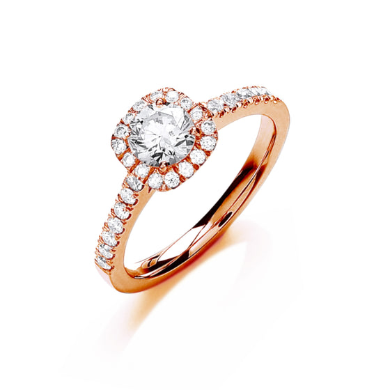 18ct Rose Gold 0.80ctw Certificated Engagement Ring TGC-DR0906