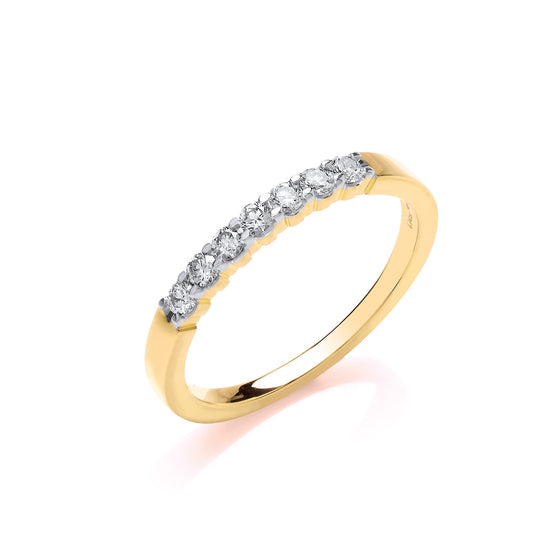 9ct Yellow Gold D.025ct Diamond Half ET Ring TGC-DR0926