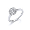 9ct White Gold Round Pave 0.25ct  Diamond Ring TGC-DR0930