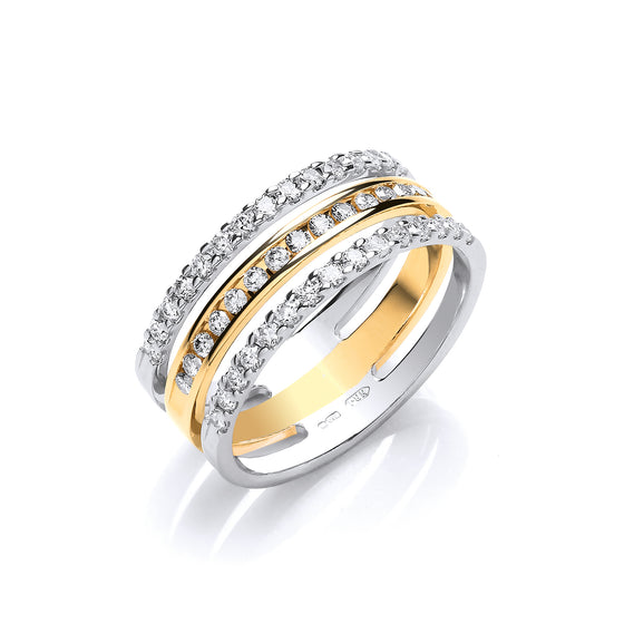 18ct 2 Colour 3 Band 0.50ct Diamond Ring TGC-DR0948