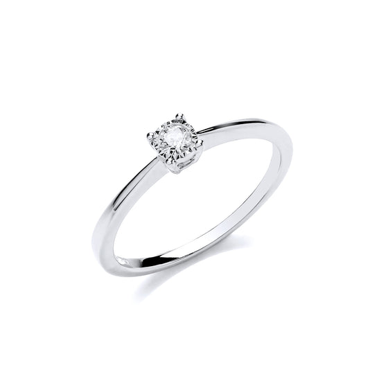 9ct White Gold 0.10ct Solitaire Ring TGC-DR0949