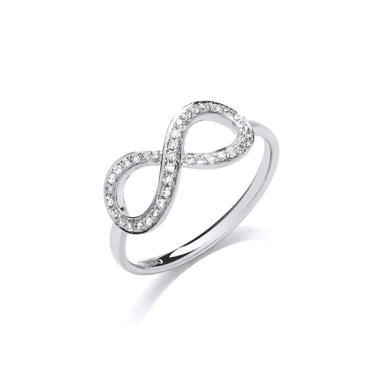 9ct White Gold 0.13ct Infinity Dress Ring TGC-DR0954