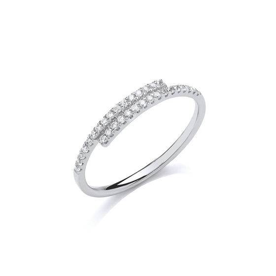 9ct White Gold 0.16ct Crossover Dress Ring TGC-DR0955