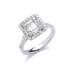 18ct White Gold 1.00ct Square Halo Style Ring TGC-DR0963