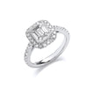 18ct White Gold 1.00ct Emerald Cut Style Halo Style Ring TGC-DR0964