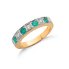 18ct Yellow Gold Diamond & Emerald Eternity Ring TGC-DR0198