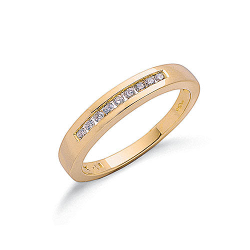 9ct Yellow Gold 0.15ct Diamond Eternity Ring TGC-DR0211