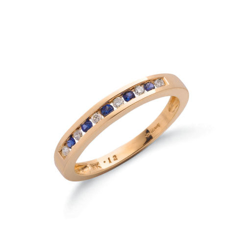 9ct Yellow Gold Diamond & Blue Sapphire Eternity Ring TGC-DR0024