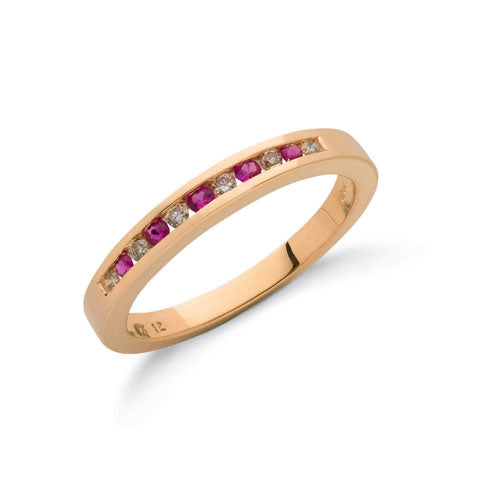 9ct Yellow Gold Diamond & Ruby Eternity Ring TGC-DR0025