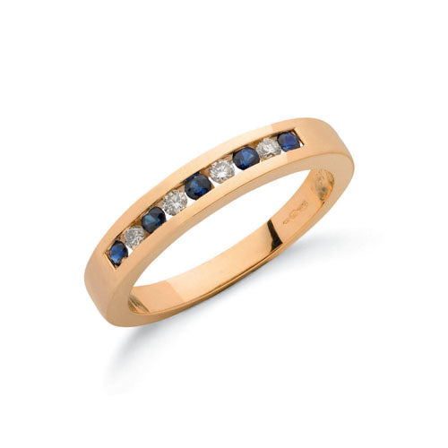 9ct Yellow Gold Diamond & Blue Sapphire Eternity Ring TGC-DR0026