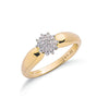9ct Yellow Gold 0.13ctw Diamond Cluster Ring TGC-DR0276