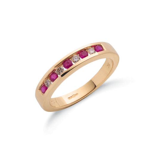 9ct Yellow Gold Diamond & Ruby Eternity Ring TGC-DR0027