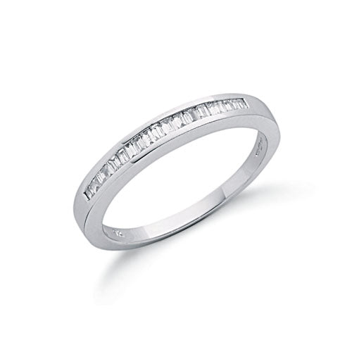 9ct White Gold 0.25ct Baguette Cut Diamond Eternity Ring TGC-DR0303