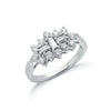 18ct White Gold D.1.00ctw Diamond Boat/Cluster Ring TGC-DR0345