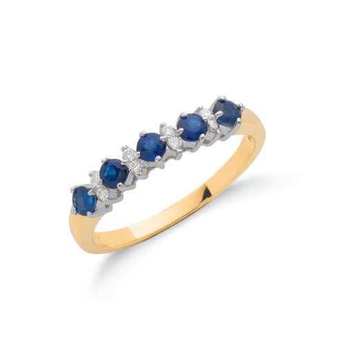 9ct Yellow Gold Diamond & Blue Sapphire Eternity Ring TGC-DR0035
