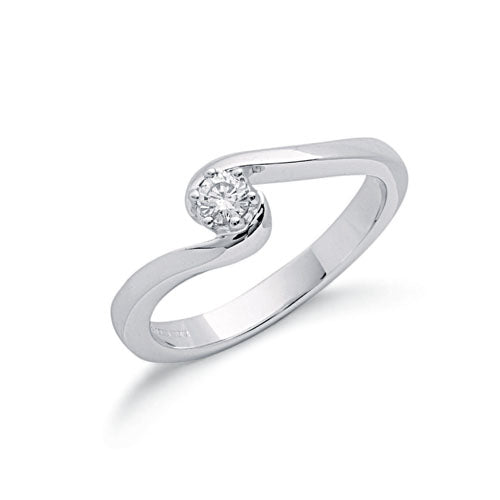 9ct White Gold 0.15ct Diamond Engagement Ring TGC-DR0373