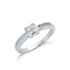 9ct White Gold 0.33ct Princess Cut Centre Diamond Engagement Ring TGC-DR0383