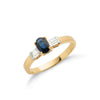 9ct Yellow Gold Baguette Cut Diamond & Blue Sapphire Ring TGC-DR0424