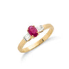 9ct Yellow Gold Baguette Cut Diamond & Ruby Ring TGC-DR0425