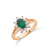 9ct Yellow Gold Diamond & Emerald Cluster Ring TGC-DR0490