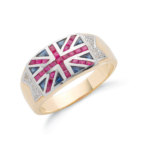 9ct Yellow Gold Diamond Blue Sapphire & Ruby Union Jack Ring TGC-DR0503