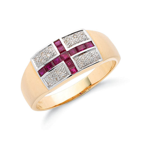 9ct Yellow Gold Diamond & Ruby Saint George Ring TGC-DR0504