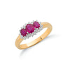 9ct Yellow Gold Diamond & Ruby Cluster Ring TGC-DR0052
