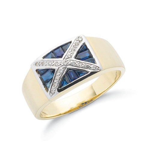 9ct Yellow Gold Diamond & Blue Sapphire Scotland Ring TGC-DR0533