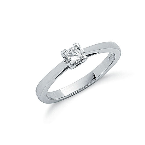 Platinum 0.25ct G/H-Si Princess Cut Diamond Engagement Ring TGC-DR0542