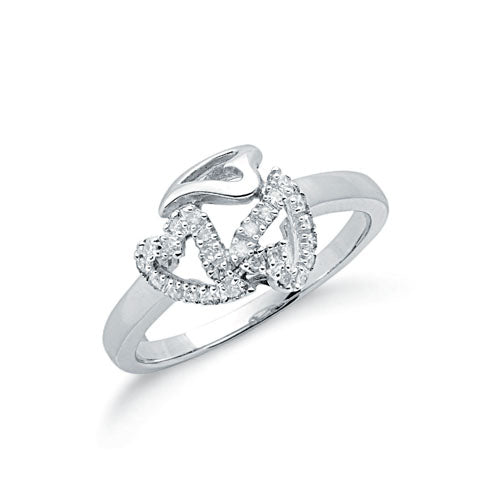 9ct White Gold 0.12ct Diamond Heart Ring TGC-DR0554