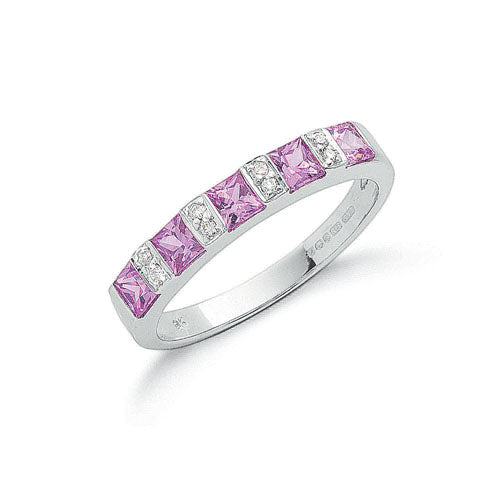 9ct White Gold Diamond & Pink Sapphire Eternity Ring TGC-DR0610
