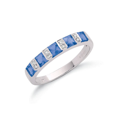 9ct White Gold Diamond & Tanzanite Eternity Ring TGC-DR0611