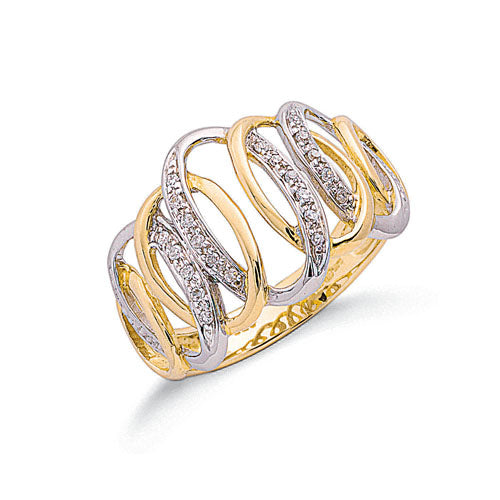 9ct Two Colour Gold 0.09ctw Diamond Ring TGC-DR0628