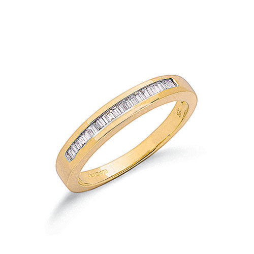 9ct Yellow Gold 0.25ct Baguette Cut Diamond Eternity Ring TGC-DR0657