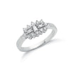 18ct White Gold D.0.50ctw Diamond Boat/Cluster Ring TGC-DR0686