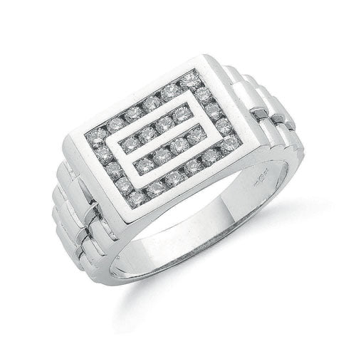 9ct White Gold 0.66ct Gents Diamond Ring TGC-DR0688