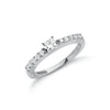 18ct White Gold 0.50ct Princess Cut Centre Diamond Ring TGC-DR0697